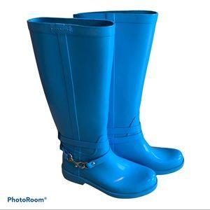 Coach Lori Rain Boots Bright Blue Size 7B